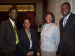 Omar Stewart, '11, Regina Long, '98, Keynote Speaker Barbara Cottrell, Esq. '84 and Phillip McKie, '10