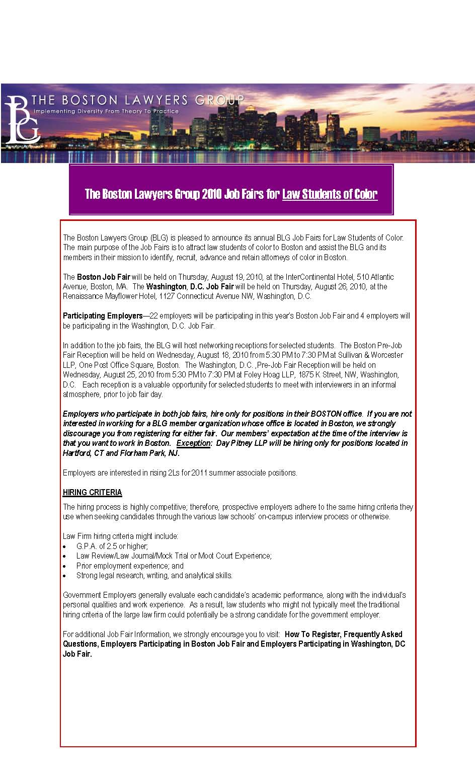 The Boston Lawyers Group 2010 Job Fairs for Law Students of