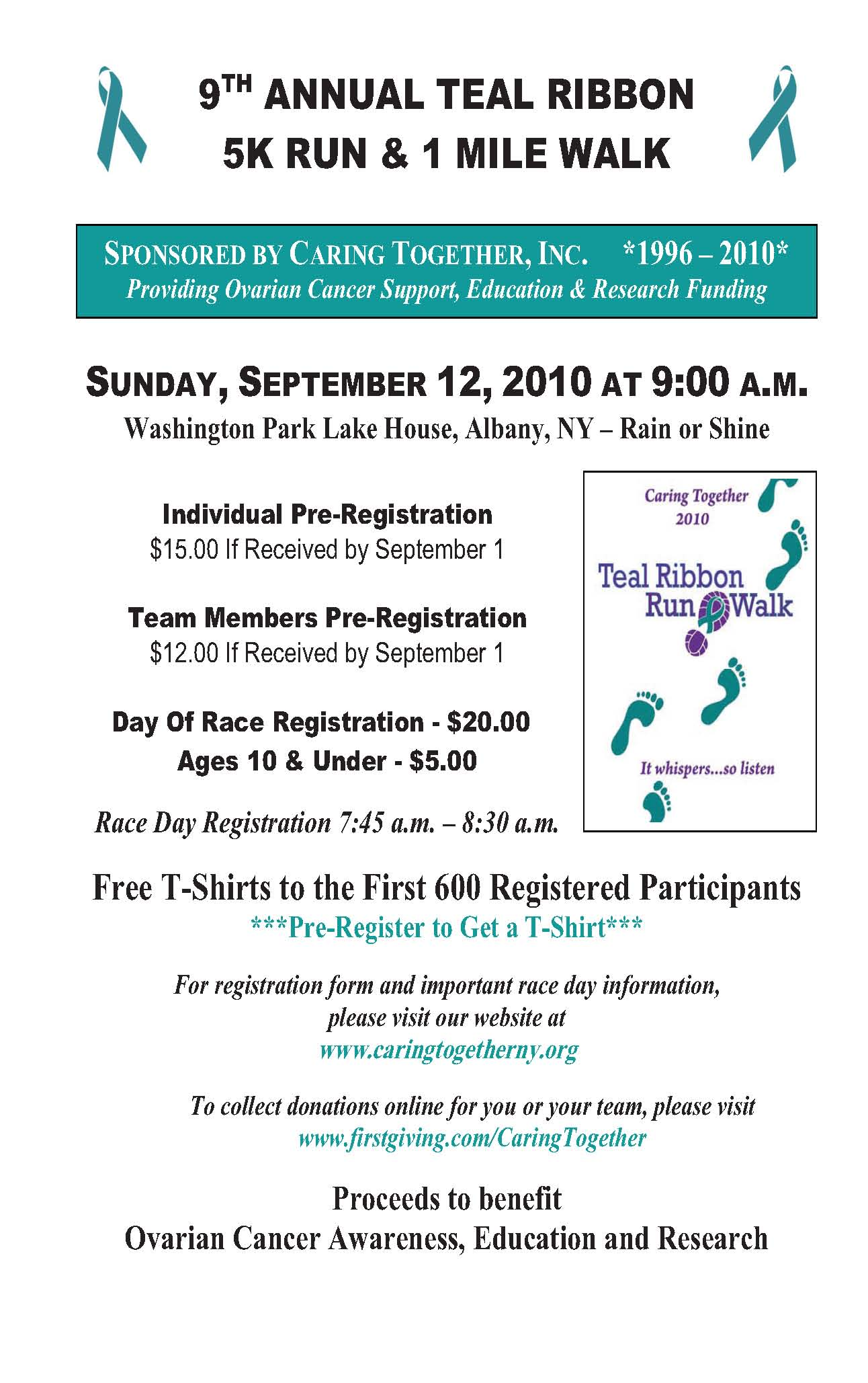 9th Annual Teal Ribbon Ovarian Cancer 5k Run Walk On September 12 Diversity And Inclusion Blog At Albany Law School