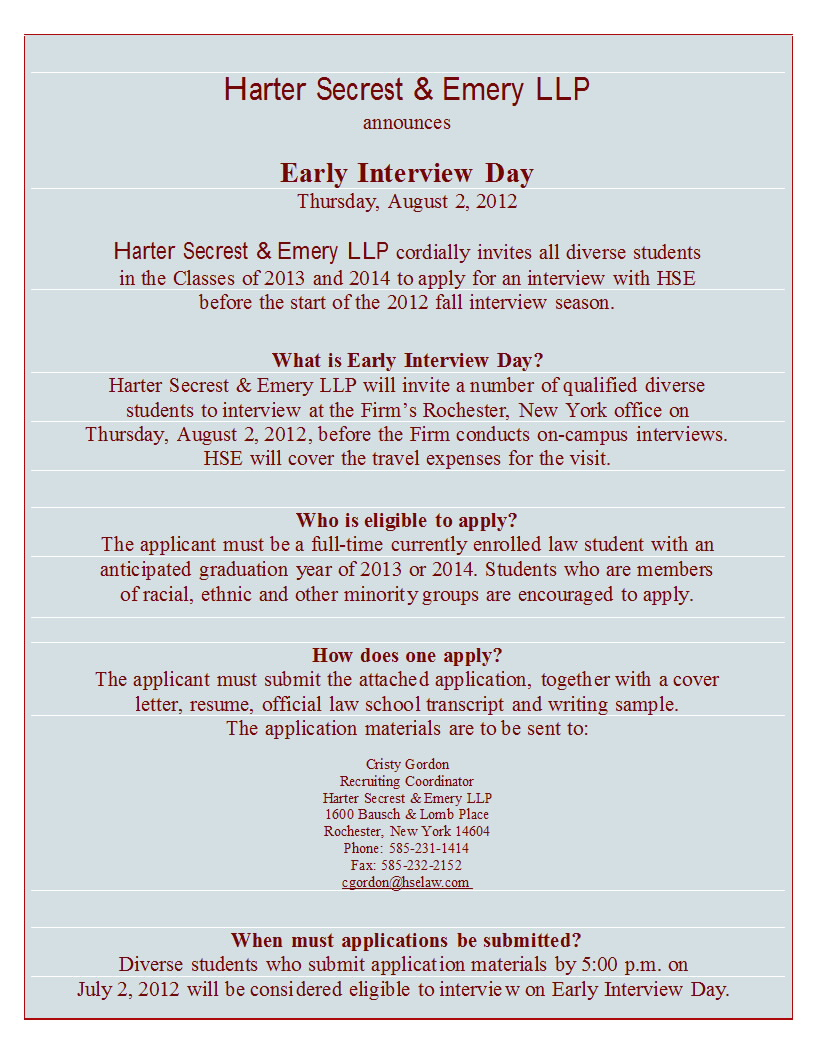 Early Interview Day for (2L & 3L) Students – Harter Secrest & Emery ...