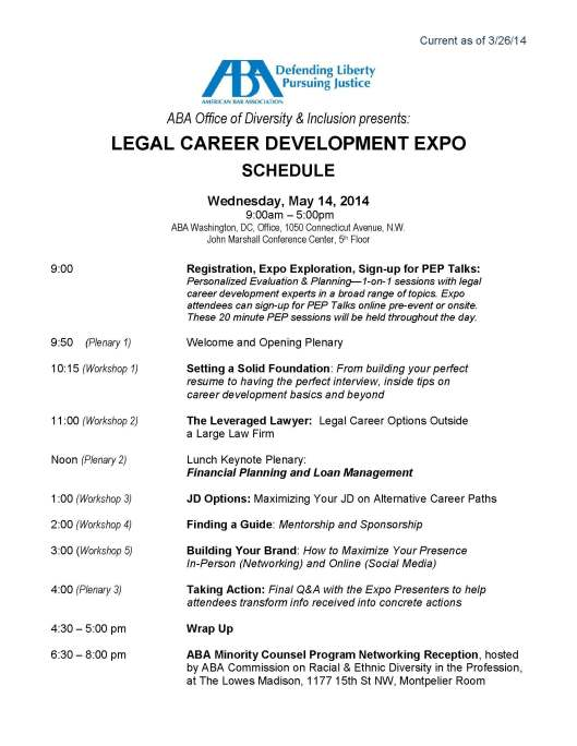 CAREER EXPO SCHEDULE-Current as of 3.26.14